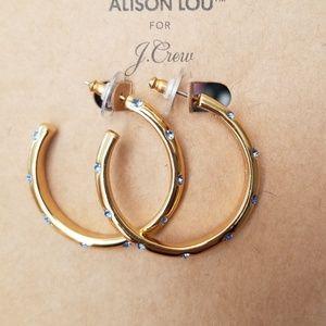 Allison Lou x j.crew Cyestal hoop earrings